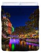 Christmas Lights On The Riverwalk 2 Duvet Cover