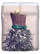 Christmas Mannequin Dressed In Fir Branches Duvet Cover