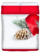 Christmas Objects On Snow  Duvet Cover