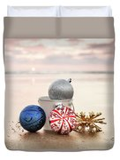 Christmas Ornaments On The Beach Duvet Cover