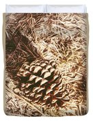 Christmas Pinecone On Barn Floor Duvet Cover