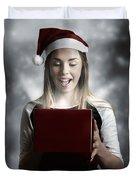 Christmas Present Girl Opening Magic Gift Box Duvet Cover