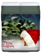 Christmas Squirrel  Greeting Card Duvet Cover
