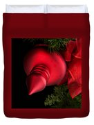 Christmas Tradition - Red Ornament And Ribbon Duvet Cover