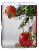 Christmas Tree Branch And Decoration In A Vase Duvet Cover