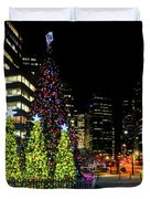 Christmas Tree On New Year's Eve In The Street Of A Big City Duvet Cover