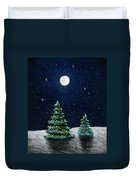 Christmas Trees In The Moonlight Duvet Cover