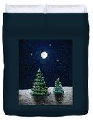 Christmas Trees In The Moonlight Duvet Cover