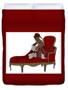 Christmas Woman On Couch Duvet Cover