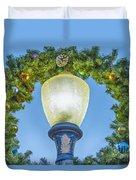 Christmas Wreath Lampost Duvet Cover