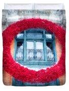 Christmas Wreath Old Quebec City Duvet Cover
