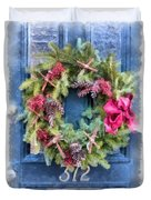 Christmas Wreath Watercolor Duvet Cover
