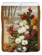 Chrysanthemums In A Walled Garden Duvet Cover