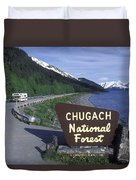 Chugach National Forest Sign And Scenic Duvet Cover