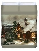 Church And Cottage With Lighted Windows Duvet Cover