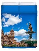 Church And Fountain In Cusco Peru Duvet Cover