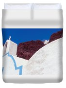 Church And Windmill In Santorini Greece Duvet Cover