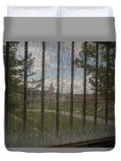 Church In Prison Yard Through Bars Duvet Cover