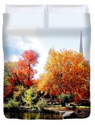 Church In The Distance In Autumn Duvet Cover