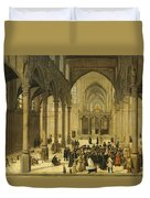 Church Interior With Christ Preaching To A Congregation, 1570 Duvet Cover