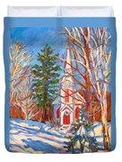 Church Snow Scene Duvet Cover