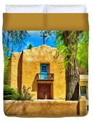 Church With Blue Door Duvet Cover