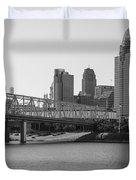 Cincinnati And Bridge Black And White  Duvet Cover