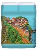 Cinque Terre, Ocean Seascape Art Duvet Cover