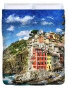 Cinque Terre - Riomaggiore From Above- Vintage Version Duvet Cover