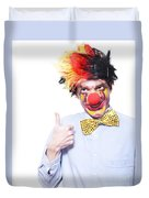 Circus Clown With Thumb Up To Carnival Advertising Duvet Cover by Jorgo Photography - Wall Art Gallery