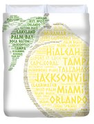 Citrus Fruit Illustrated With Cities Of Florida State Duvet Cover