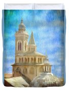 Citta Alta From Above Duvet Cover by Jeff Kolker