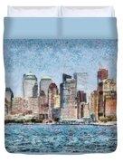 City - Ny - Manhattan Duvet Cover