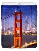 City Art Golden Gate Bridge Composing Duvet Cover by Melanie Viola