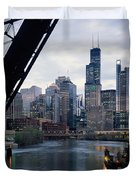 City At The Waterfront, Chicago River Duvet Cover