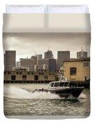 City Bay Police Boat - Color  Duvet Cover