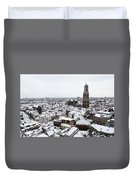 City Centre Of Utrecht With The Dom Tower In Winter Duvet Cover