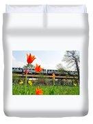 City Garden Chicago L Train Duvet Cover