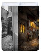 City - Germany - Alley - Coming Home Late 1904 - Side By Side Duvet Cover