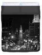 City Hall - Black And White At Night Duvet Cover