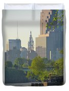 City Hall From The Schuylkill River Duvet Cover