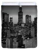 City Light Chicago B W Duvet Cover