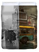 City - Ny - Times Square On A Rainy Day 1943 Side By Side Duvet Cover