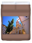 City Of Ljubljana Church And Square View Duvet Cover