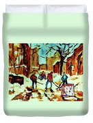 City Of Montreal Hockey Our National Pastime Duvet Cover