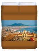 City Of Naples With Mt. Vesuvius Duvet Cover