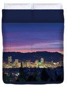 City Of Portland Oregon Skyline At Twilight Duvet Cover