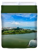 City Of Singapore And Blue Sky Duvet Cover