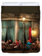 City - Vegas - Paris - The Outdoor Cafe  Duvet Cover by Mike Savad
