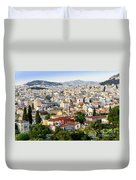 City View Of Old Buildings In Athens, Greece Duvet Cover